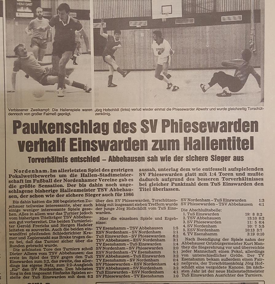Aufgrund des besseren Torverhältnisses gegenüber dem TSV Abbehausen gewinnt der TuS Einswarden erstmals die Stadtmeisterschaften.v