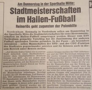 Vorbericht der ersten Nordenhamer Stadtmeisterschaften.
